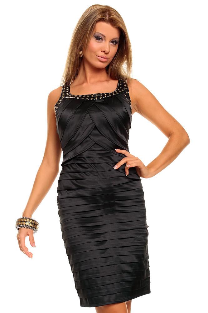 Černé pouzdrové šaty hs-sa171bl