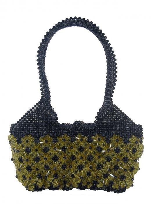 Dámská kabelka ruční výroba #07 černá se žlutými květy