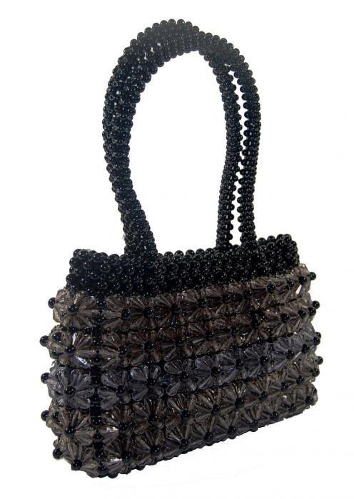 Dámská kabelka ruční výroba #08 černá s ledovými kvítky