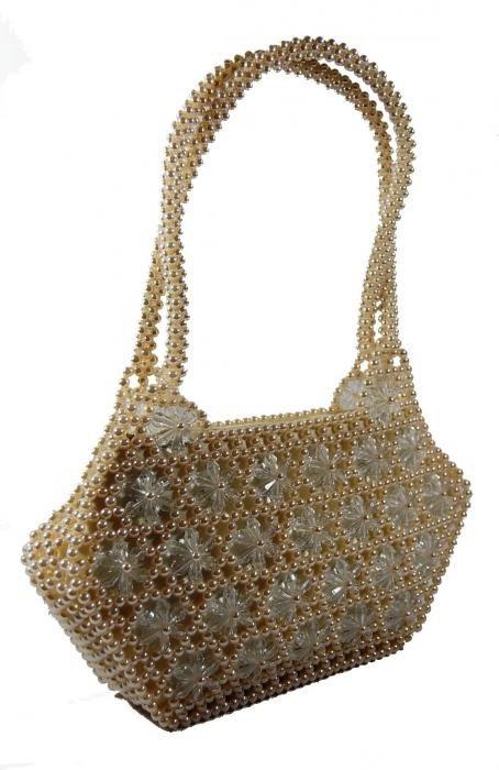 Dámská kabelka ruční výroba #10 krémová s bílými květy