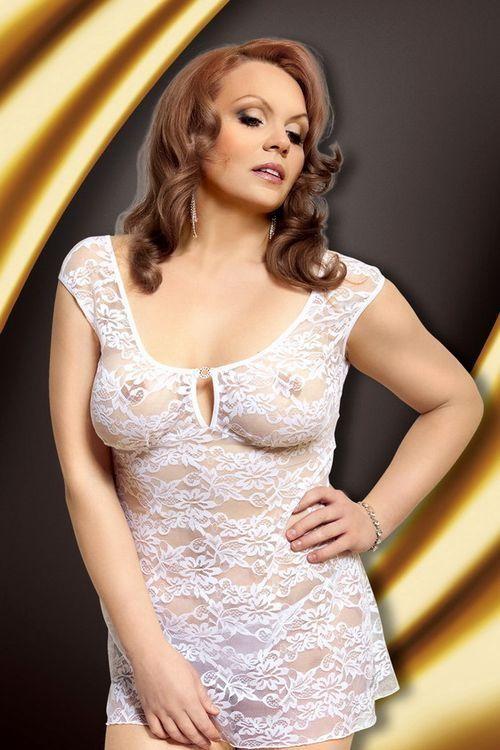 Erotická košilka Linley white  XXL