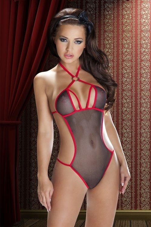 Erotické body Devi black-red