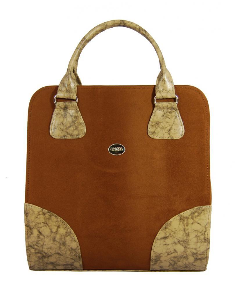 Stylová kabelka S131 hnědý semiš - Grosso