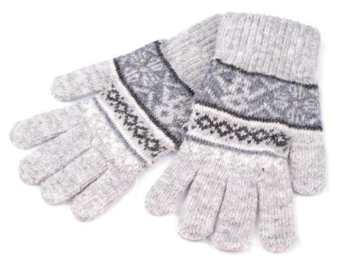 Rukavice dívčí velikost 10x20cm pletené se vzorem (1 pár)