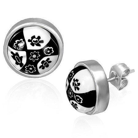 Černo-bílé náušnice z oceli th-ers062