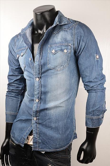 Riflová pánská košile p-st114