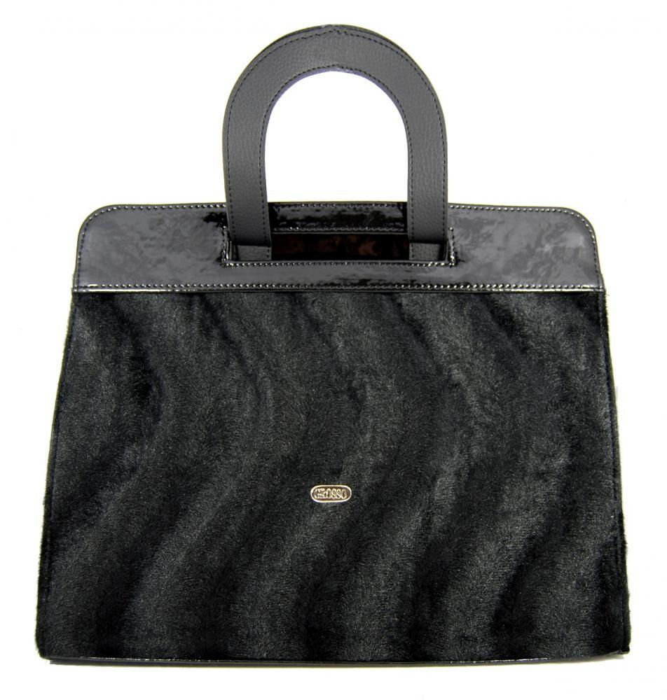 Luxusní chlupatá aktovková kabelka s vlnkami S132 Grosso
