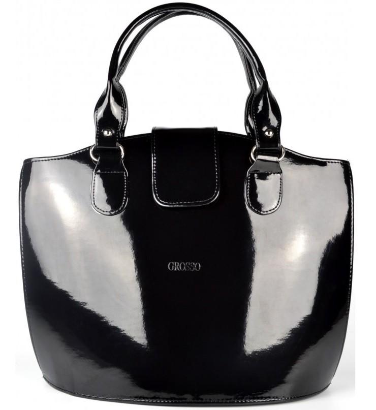 Elegantní kabelka S38 černý hladký lak