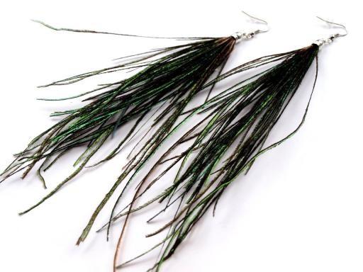 Náušnice peříčkové 18cm paví (1 pár)