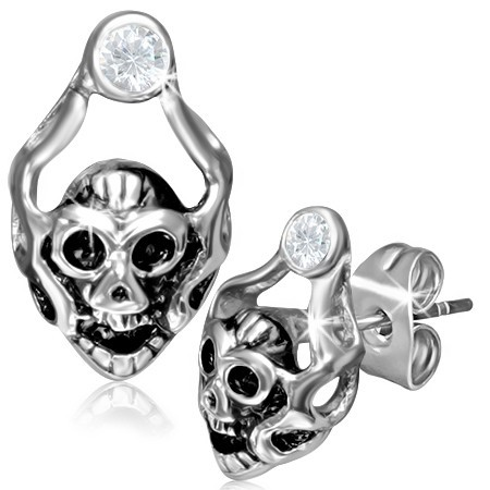Ocelové náušnice Ghost Skull th-gec033