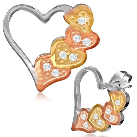 Ocelové náušnice - srdce th-bel573