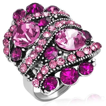 Prsten s křišťály th-frb266