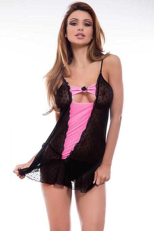 Sexy košilka Benefit black-pink