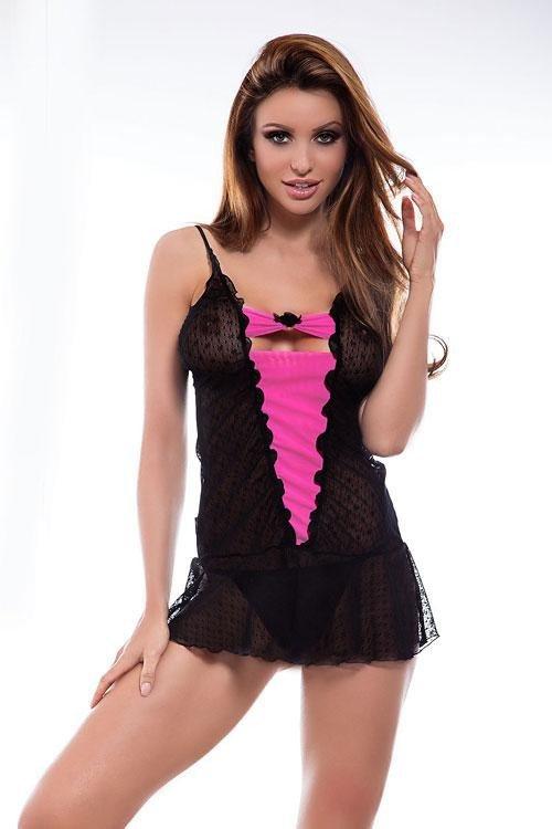 Sexy košilka Benefit black-fuchsia