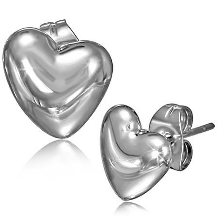 Náušnice ocelové - srdce th-bel595
