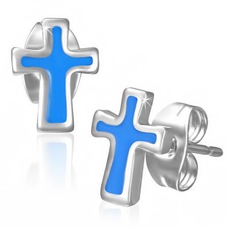 Ocelové náušnice kříž modrý th-jes268