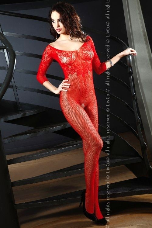 Erotické bodystocking Josslyn red