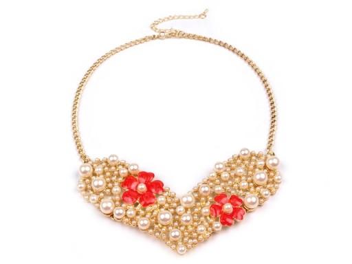 Kovový náhrdelník s korálky SRDCE (1 ks)