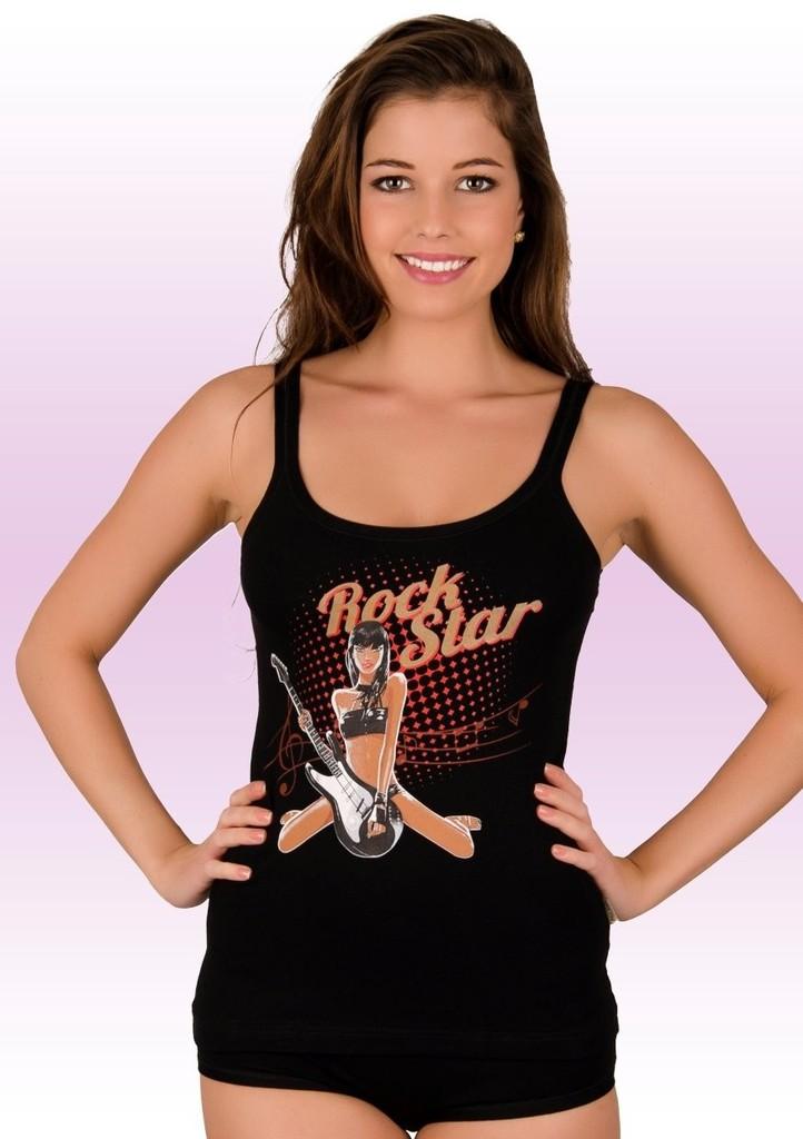 Dámská košilka na ramínka s obrázkem zpěvačky