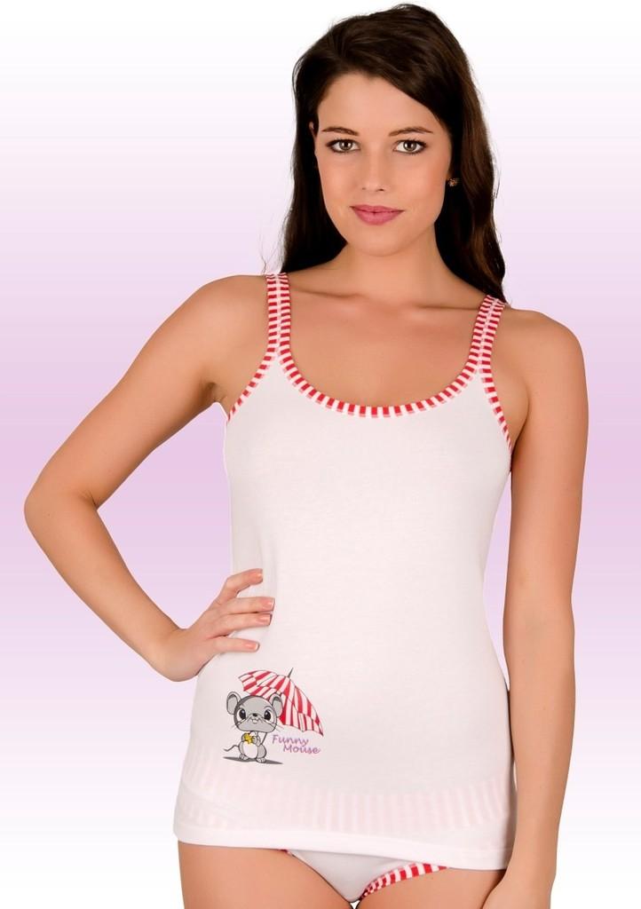 Dámská košilka na ramínka s obrázkem myšky