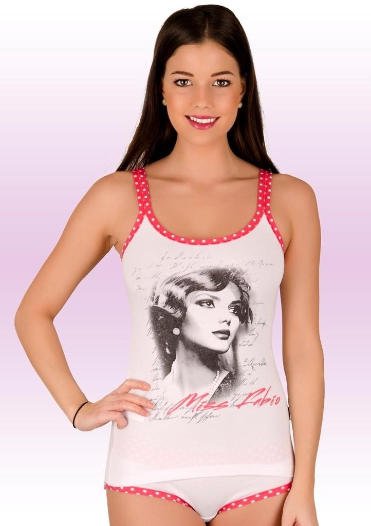 Dámská košilka na ramínka s obrázkem portrétu dívky