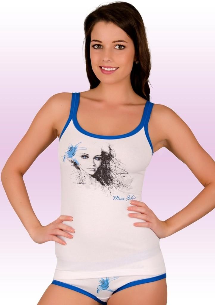 Dámská košilka na ramínka s obrázkem dívky s lilií