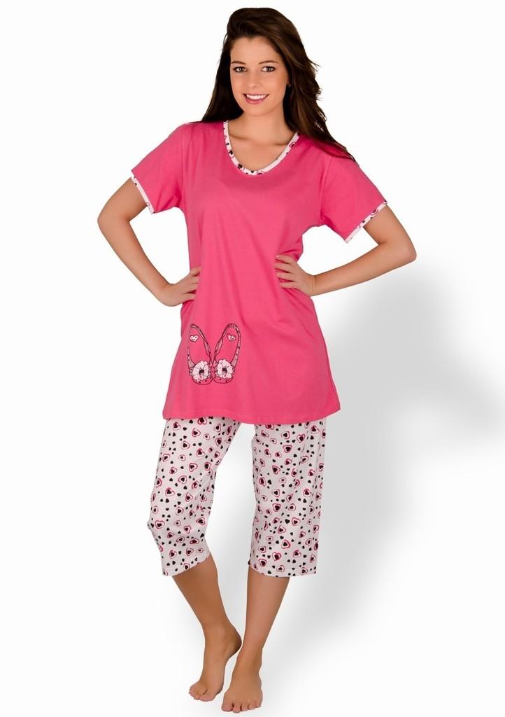 Dámské mateřské pyžamo s balerínky a capri kalhotami