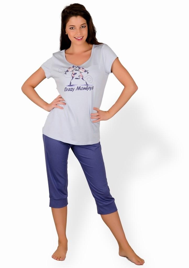 Dámské pyžamo s obrázkem dvou opic a capri kalhotami
