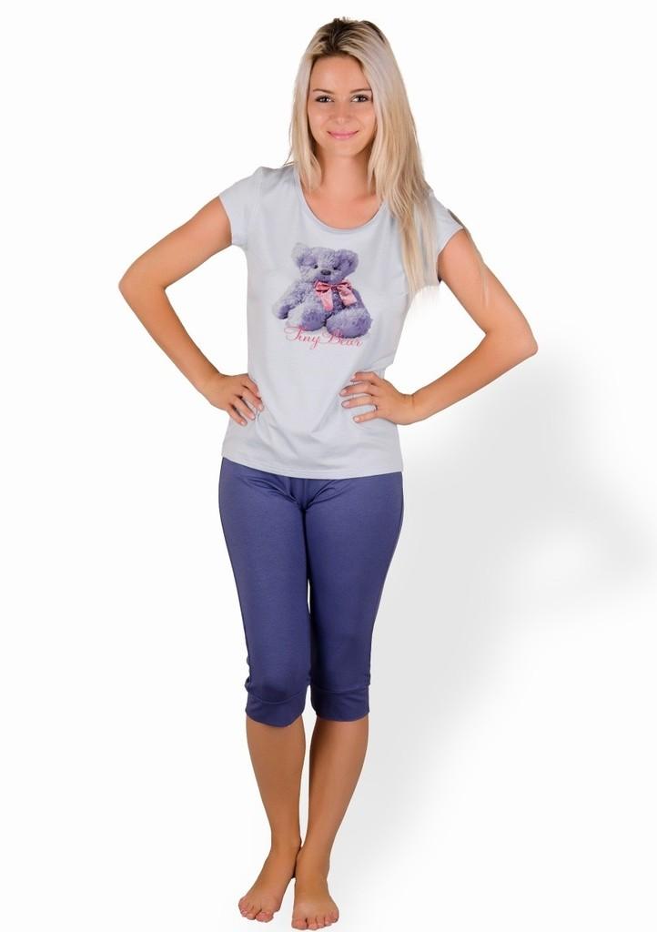 Dámské pyžamo s obrázkem medvěda a capri kalhotami