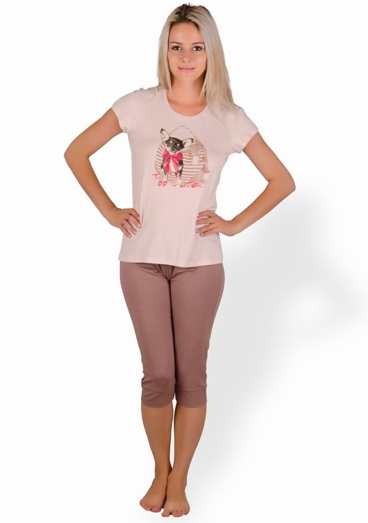 Dámské pyžamo s obrázkem pejska a capri kalhotami