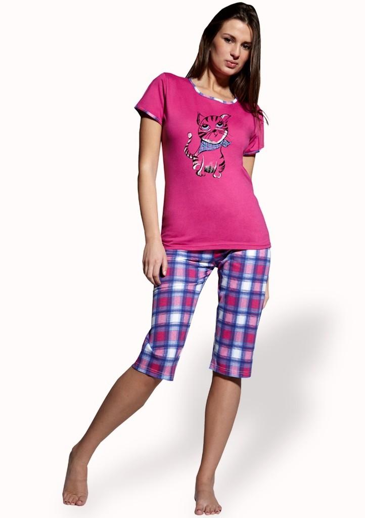 Dámské pyžamo s obrázkem kočky a capri kalhotami