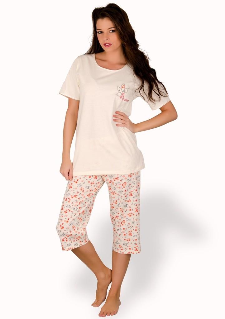 Dámské pyžamo s obrázkem Flower a capri kalhotami
