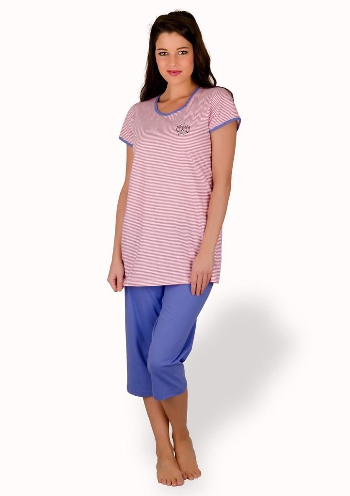 Dámské pyžamo s obrázkem korunky a capri kalhotami