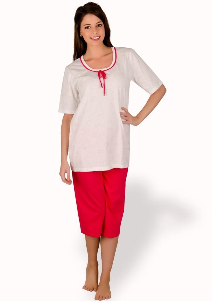 Dámské pyžamo se vzorem mašlí a capri kalhotami