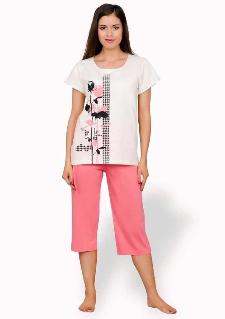 Dámské pyžamo s obrázkem růží a capri kalhotami