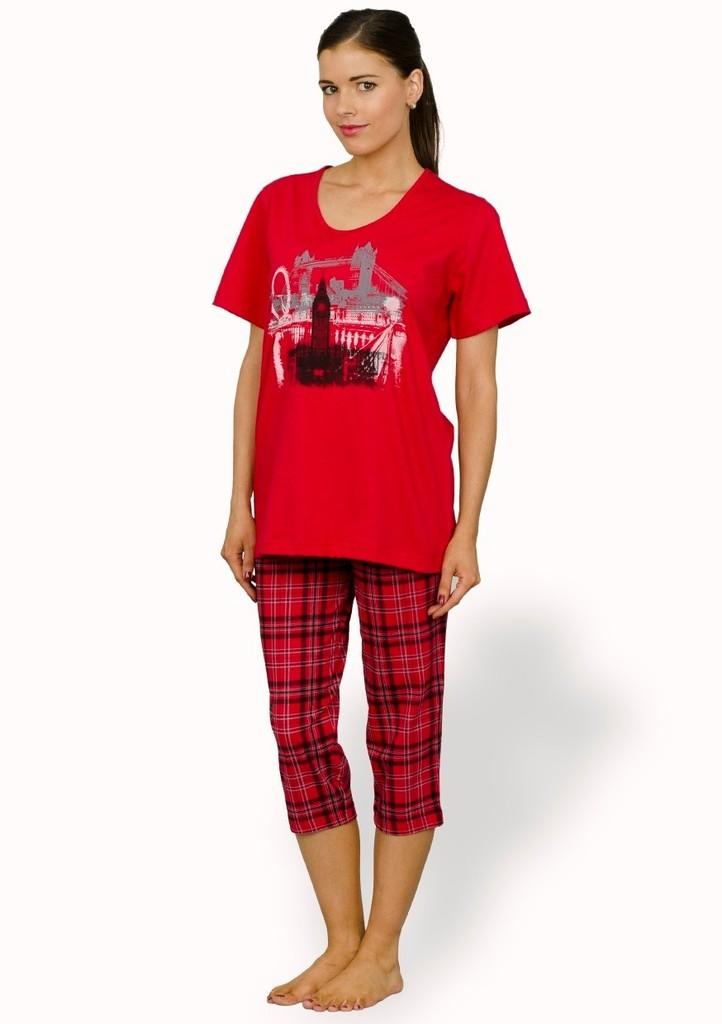 Dámské pyžamo s obrázkem Londýna a capri kalhotami