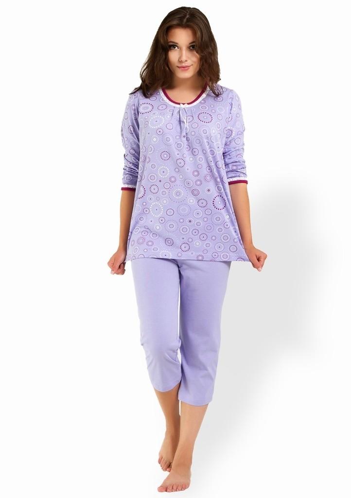 Dámské pyžamo 3/4 rukáv s vzorem kruhů a capri kalhoty