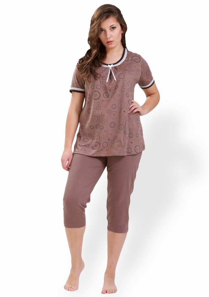 Dámské pyžamo s vzorem kruhů a capri kalhotami