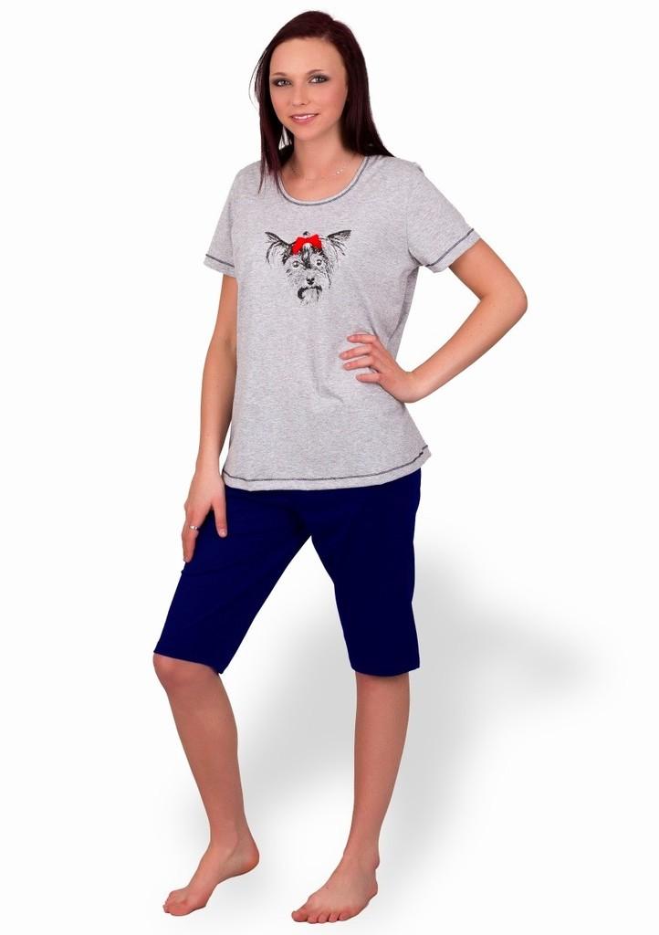 Dámské pyžamo s obrázkem yorkšíra a capri kalhotami