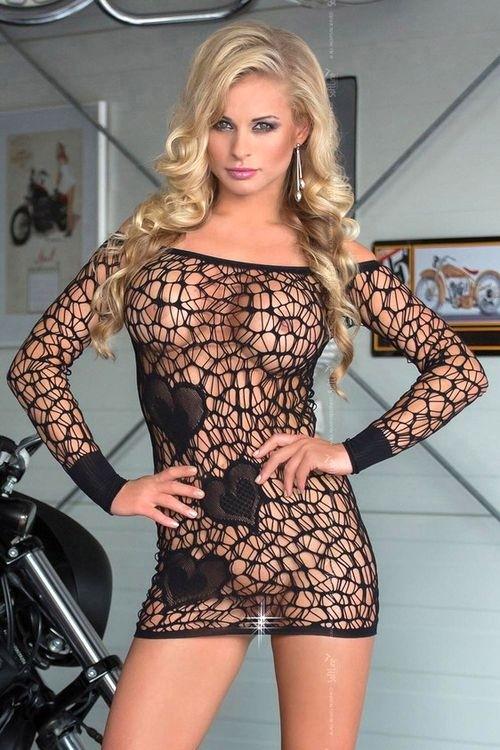 Sexy síťovaná košilka 6021 Sweetheart black