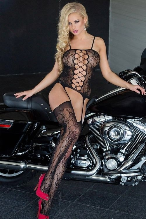 Bodystocking  6268 Floweret black