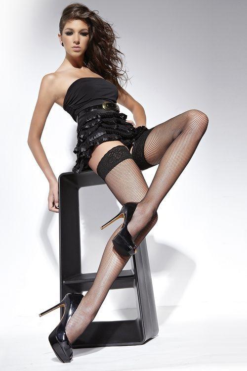 Samodržící punčochy Lucrezia black