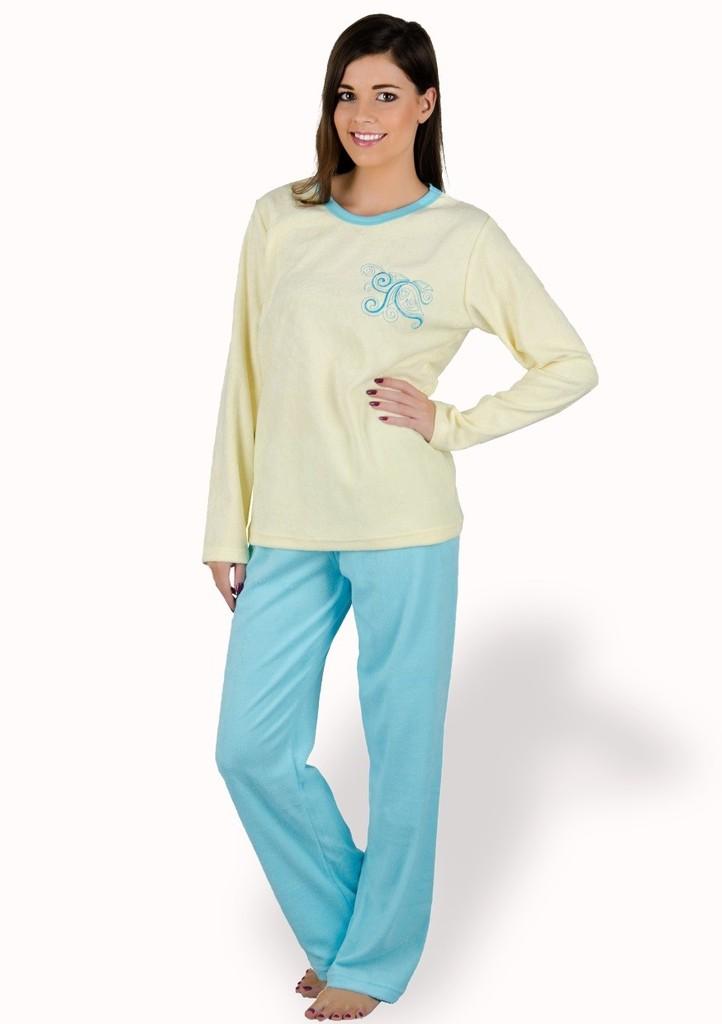 Dámské pyžamo froté s výšivkou květu