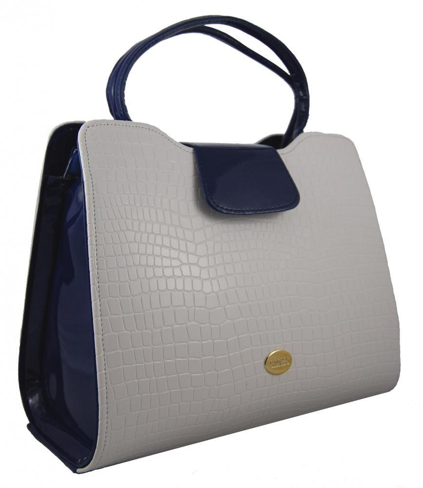 Elegantní bílo-modrá lakovaná kroko kabelka do ruky S130