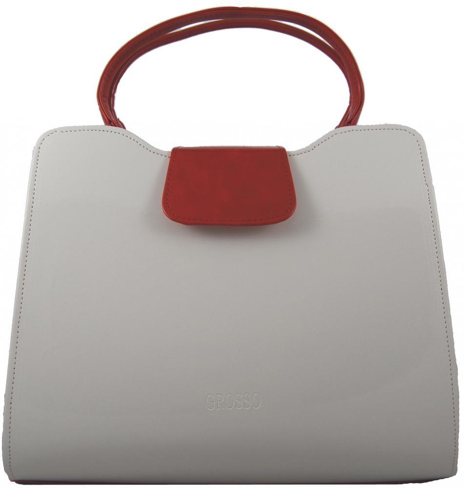 Elegantní bílo-červená hladká kabelka do ruky S130