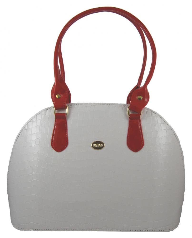 Bílo-červená kroko kabelka na rameno S324 GROSSO