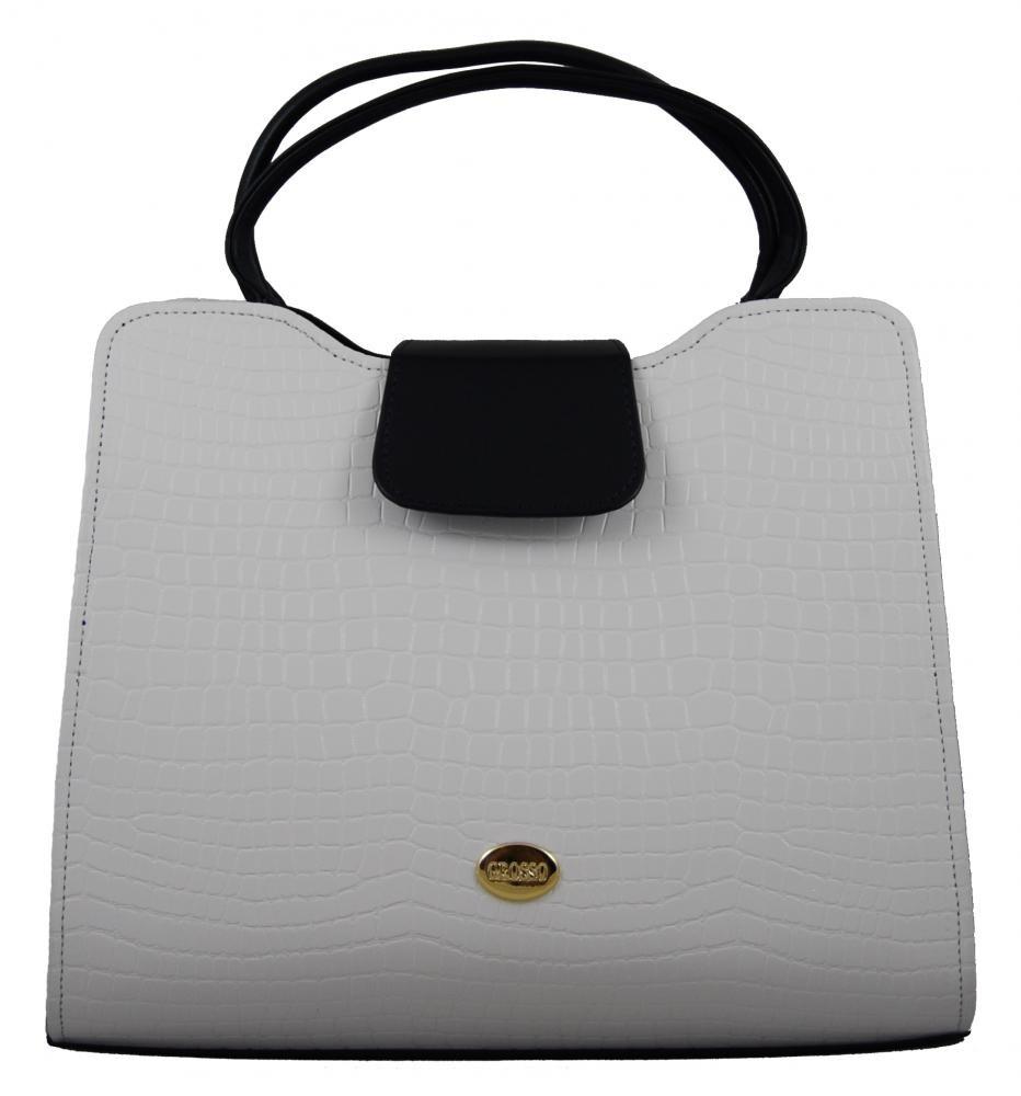 Elegantní bílo-modrá kroko kabelka do ruky S130