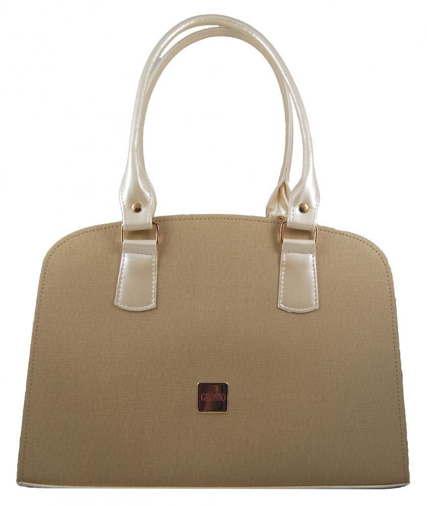 Béžová kabelka na rameno s textilním rastrem S311 GROSSO