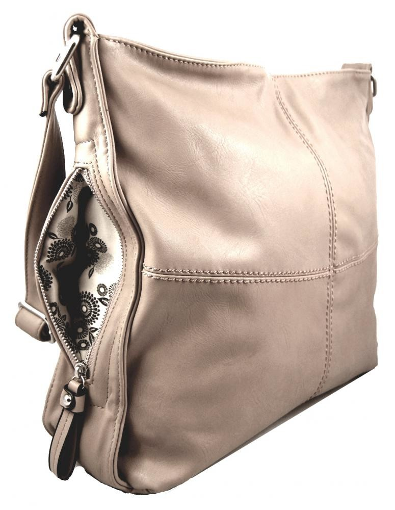 Crossbody kabelka s bočními kapsami D1018 béžová