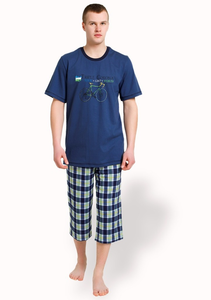 Pánské pyžamo s obrázkem jízdního kola a bermudy